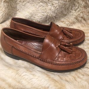 Bass Tassel Leather Weave Toe Loafer Brown Size 10